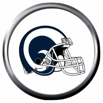 NFL LA Rams Helmet White Football Fan 18MM-20MM Snap Jewelry Charm New Item