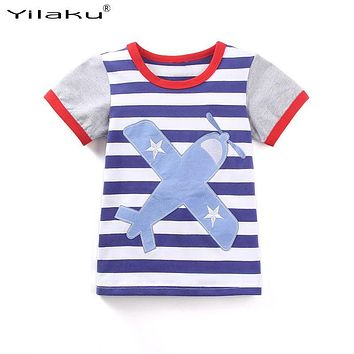 2017 New Summer Boy Clothes Striped T-shirts For Baby Boys Embroidered Airplane T-shirt Toddler Kids Short SleeveTees Tops CG273