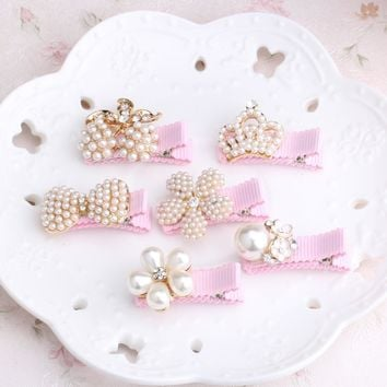 2016 New Baby Hair Clips Crown Pearls Hairpins Children Hair Accessories Flower Wrapped Bow With Pearls Princess Tiara Barrettes