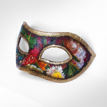 Floral Printed And Gold Masquerade Mask In Antique Look -  Classical Venetian Mask With Floral Decoupage And Gold Edges - For Men