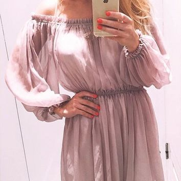 Pink Double-deck Boat Neck Long Sleeve Flowy Elegant Mini Dress