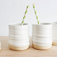 Summer drink cups, set of four white ceramic pottery tumblers, spring