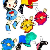 school band girl doll digital download clothes toys set clip art collage sheet graphics childrens craft printables