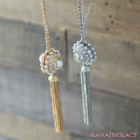 Dainty Darling Pearl Cluster Tassel Necklace