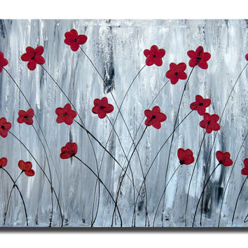 Red Poppies, Flowers Field, Abstract Floral, Red Flower, Canvas Painting Original LARGE 36x24 Paintings Heavy TextureAcrylic Modern Art