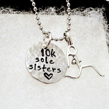 Personalized Necklace - Hand Stamped - Jewelry - 10K - 5K - Marathon - Runner - Sole Sisters
