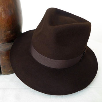 Chocolate Brown Wool Felt Fedora - Wide Brim Merino Wool Felt Handmade Fedora Hat - Men Women