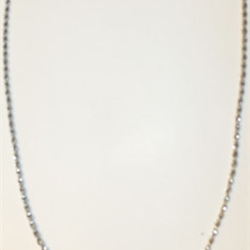 Black Rectangle Pendant w/Silver Rope Necklace