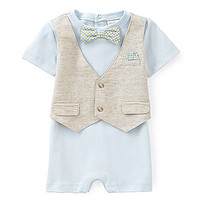 Starting Out Treasures Newborn-6 Months Linen Vest & Bow Tie Shortall