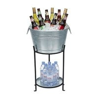 Ice Bucket With Stand and Tray. Galvanized Party Tub Is Perfect for Holding Beer, Wine, Champagne or Any Beverage. Large Size. Superior Construction, No Leaks or Wobbles.