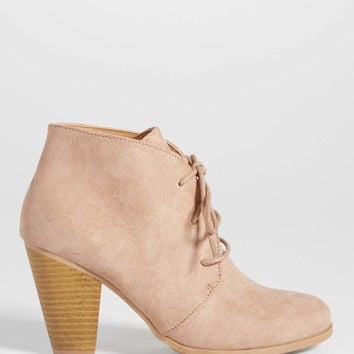 Daphne faux suede heeled ankle bootie in natural | maurices