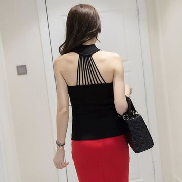 Summer Women Fashion Knitting Turtleneck Solid Halter Neck Tank Tops Girls Knitted Camisole Sleeveless Backless Tee shirts FL111