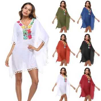 Summer Beach Wear Bathrobe The Swimsuit Pareo Long Dress For Kaftans Outputs 2018 Make Crochet Stitching Irregular Smock