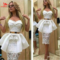 Gorgeous White Lace Arabic Cheap Sheath Elegant Cocktail Dresses Sweetheart Pleated Short Prom Abendkleider 2016 Robe De Soiree