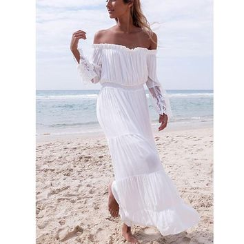 Beach Cover Up Dress Women Sexy Off Shoulder Bikini Cover-Ups Flare Sleeve Lace Patchwork Dress Tunic Ladies Sundress