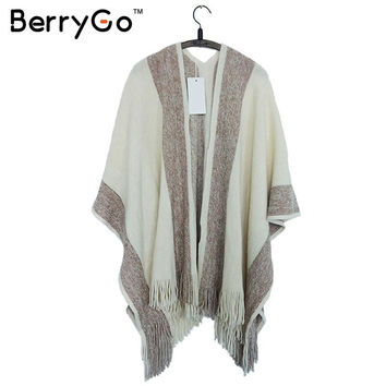 BerryGo striped tassel tricot warm wool sweater wrap shawl Women knitted cotton oversized capes and ponchos autumn warm