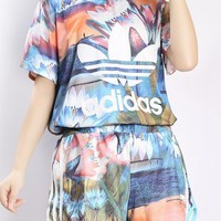 Adidas Women Sports Casual Multicolor Lotus Pattern Print Short Sleeve Shorts Set Two-Piece Sportswear-1