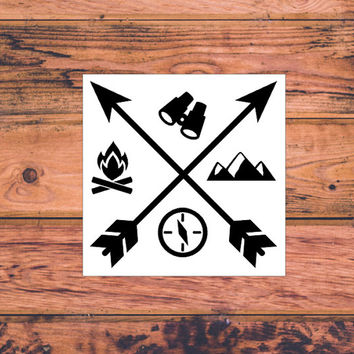 Camping Decal | Adventure Decal | Adventure Arrow Decal | Adventurous Decal | The Mountains Are Calling | Adventure Awaits | Wanderlust |368