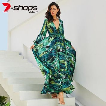 2019 Long Sleeve Maxi Dress Women Deep V Neck Party Dress Lace-Up Sexy Ladies Boho Beach Long Dresses Plus Size Sundress