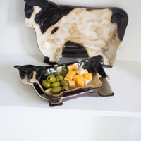 Set of 3 Black & White Ceramic Cow Platters- 1 Each Size