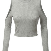 LE3NO Womens Lightweight Ribbed Cold Shoulder Turtleneck Crop Top (CLEARANCE)