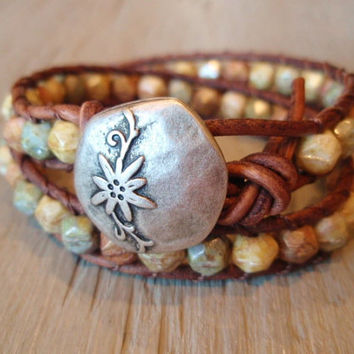 Boho leather wrap bracelet Desert Bloom rustic glass by slashKnots