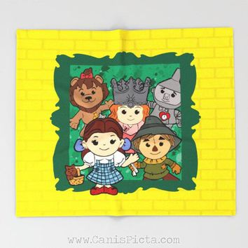 Kawaii Wizard of Oz Throw Blanket Yellow Fleece Home Decor Gift Unique Room For Fan Couch Living Dorothy Toto Scarecrow Tinman Lion Glinda