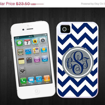 SALE Royal Blue Chevron iPhone 4/5 tough case, Gray circle - Monogram, 2 piece rubber lining , personalized with your initials, iPhone 4 iP