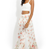 FOREVER 21 Soft Floral Tulip Pants Cream/Blush