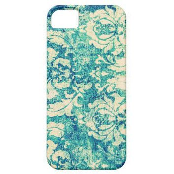 Vintage Blue and Green Damask Pattern Background Iphone 5 Cases from Zazzle.com