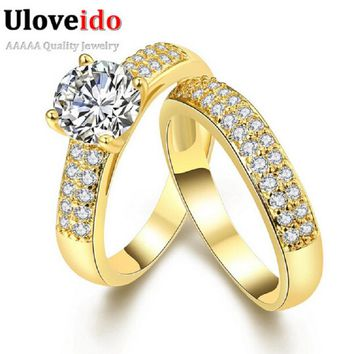 Uloveido Jewelry Promise Engagement Double Rings For Couples Men Women Gold Color Pairs Wedding Ring Set for Men and Women KR005