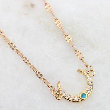 Opal Crescent Moon 18K Gold Plated Collar Necklace