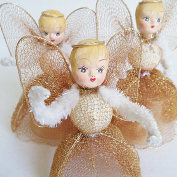 3 Vintage Angels Christmas Home Decor Collectibles Tree Topper Gold Paper Mache Chenille