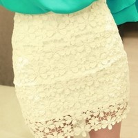 bb2323Beautiful White High Waisted Lace Mini Skirt