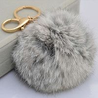 Cute Genuine Rabbit fur ball pom pom keychain for car key ring Bag Pendant GREY