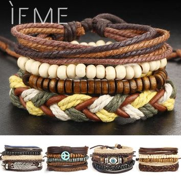 IF ME Multilayer Leather Bracelet Men Jewelry Punk Wood Bead Bracelets For Male Vintage Rope Braided Bracelets & Bangles Gifts