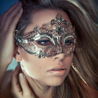 Masquerade Silver Collection - Silver Luxury Venetian Masquerade Mardi Gras Mask with rhinestones