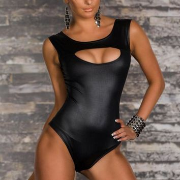 Sexy Wetlook Vinyl Leather Rompers Bodysuit Sleeveless Black Cut Out Bust Overalls Hot Bodycon Night Club Playsuit S-XXL