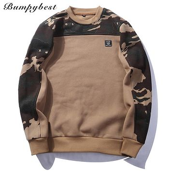 Patchwork Pullover Camouflage Sweatshirts Male O-Neck Slim Fit Knitting Men Hoodies