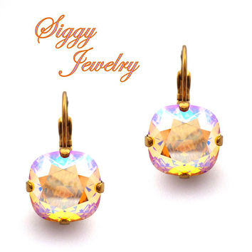 Swarovski Crystal Earrings, Light Topaz Shimmer, Iridescent AB, 12mm Cushion Cut, Drops or Studs, Assorted Finishes, FREE SHIPPING
