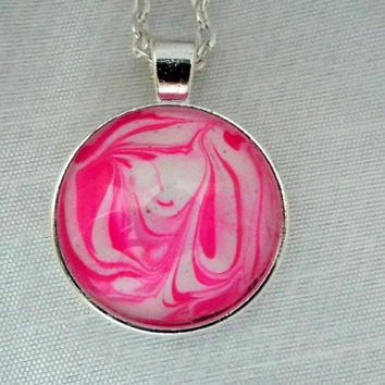 Unique Hand Crafted Pink Lady Pendant Necklace  FREE SHIPPING
