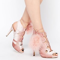 Missguided Lace Up Pom Pom Heels at asos.com