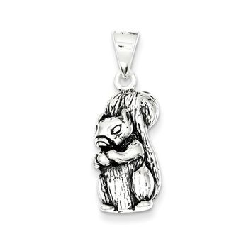 Sterling Silver Large Antiqued Squirrel with Nut Pendant