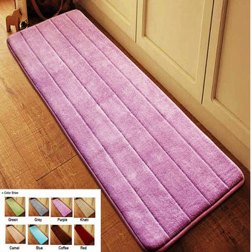Antislip Velvet Bathroom Door Mat Absorbent Bath Mat Slow Rebound Memory Foam Bathroom Carpet Microfiber Floor Rug 40*120cm