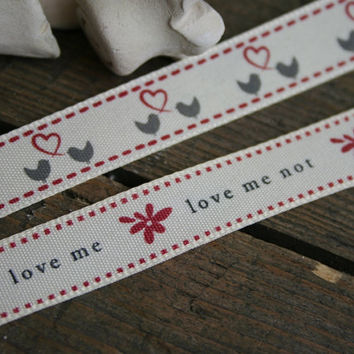 Love Me, Love Me Not Grosgrain Ribbons. Bird and Heart Crafting Ribbons. 16mm. Sold by the metre