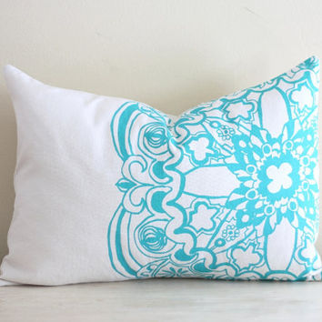 Turquoise Moroccan Linen Pillow Cover Decorative Cushion Throw Lumbar 12x16 Screen Print Hand-Printed Modern Global Gift