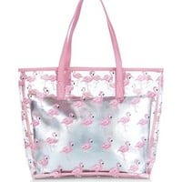Pink Flamingo Print Clear Beach Bag