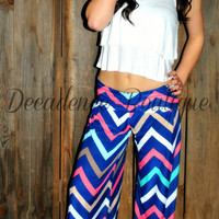 PARIS PALAZZO PANTS IN ROYAL MULTI