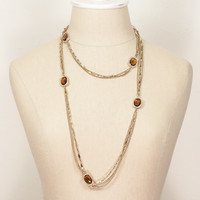 70's__Sarah Coventry__Amber Jeweled Necklace