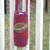 Football Applique Water Bottle Holder